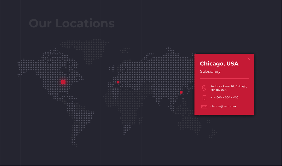KERN Microtechnik UX/UI of the new map with locations for the corporate website