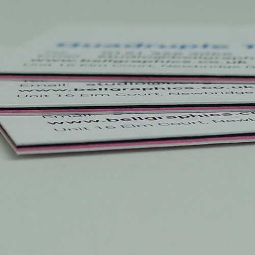 Triple and quadruple layer business cards with multi colour centre