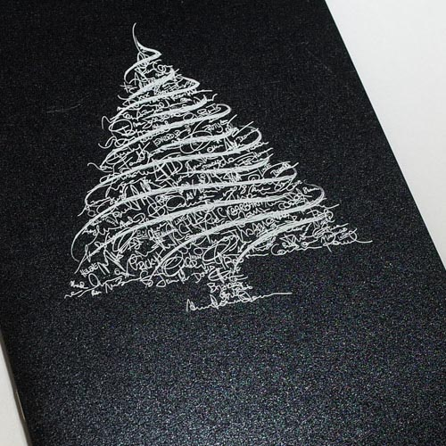 White Ink printed onto dark Pearl card