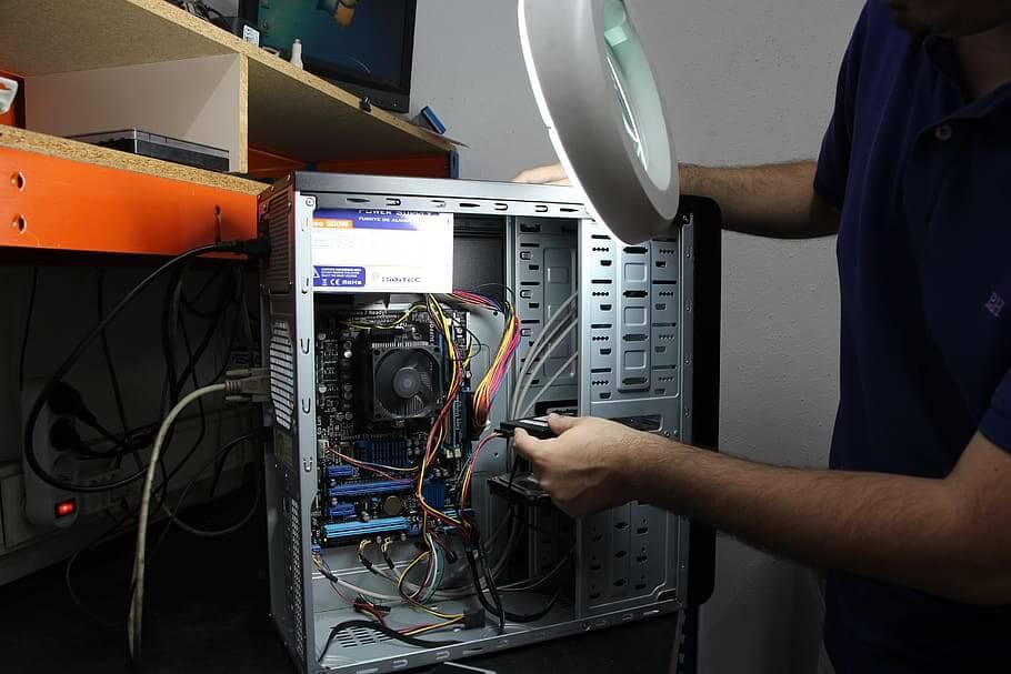 desktop computer opened up for repair