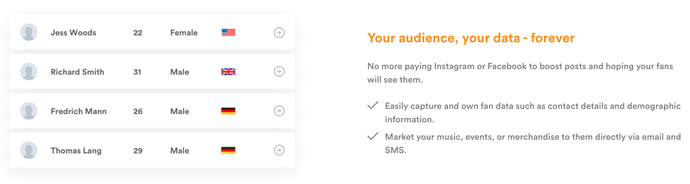 Pro Tip: with a Fangage fan-platform you are able to collect your followers' data yourself. You have 100% ownership of this data, allowing you to retrieve valuable insights.