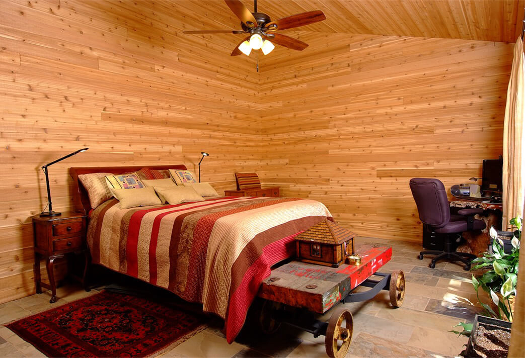 Design & Build Project: Pontypool Possibilities - Bedroom With Wood Tongue and Groove Walls and Ceiling