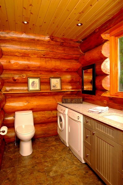 Design & Renovate Project: Scandinavian Log Home - Bathroom With Laundry