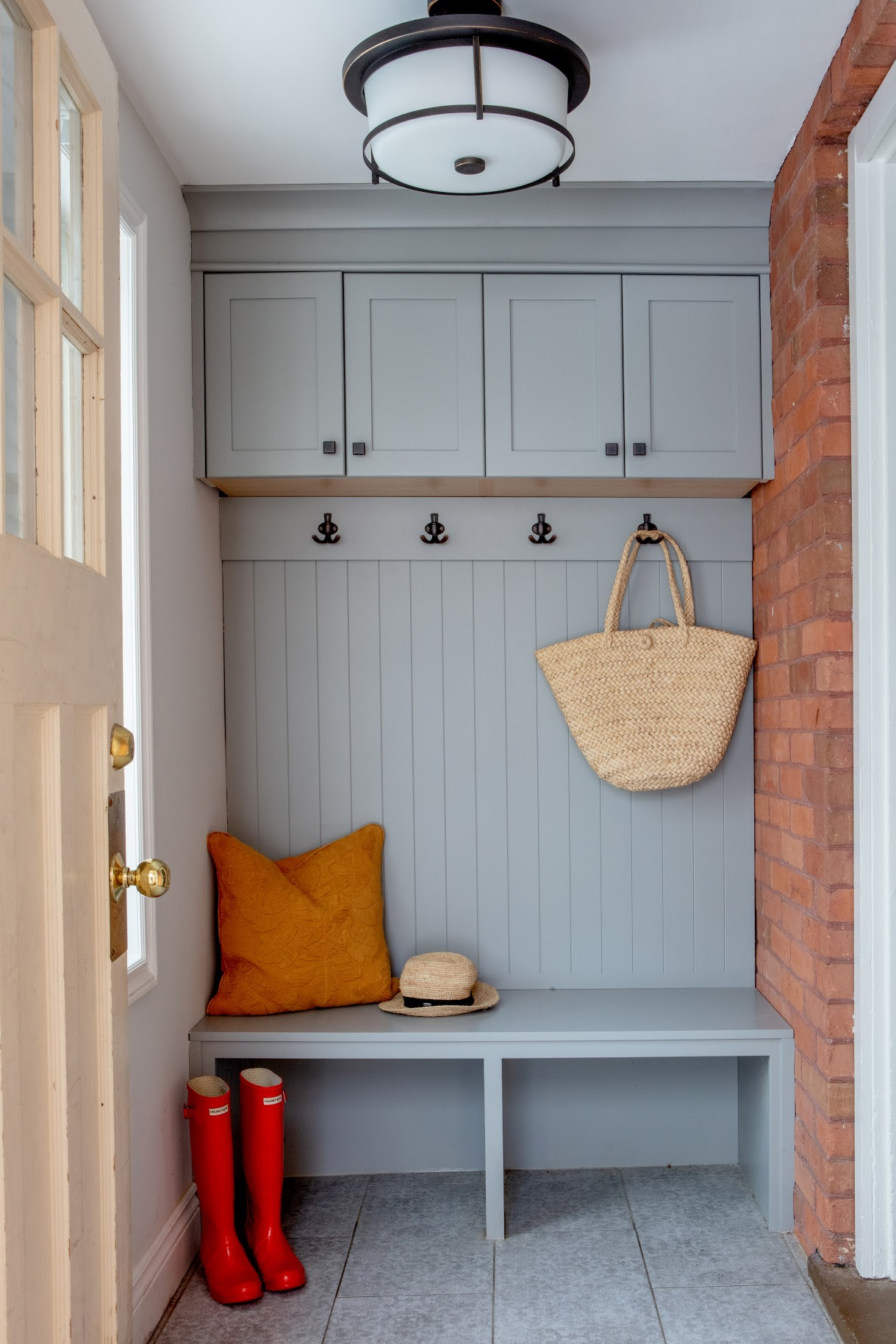 After: Built-In Mudroom Bench With Coat Hooks