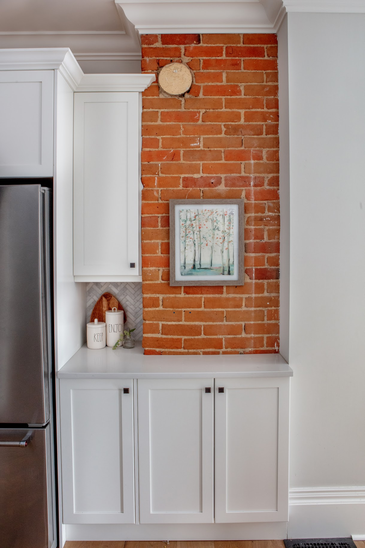 After: Red Brick Wall in Kitchen
