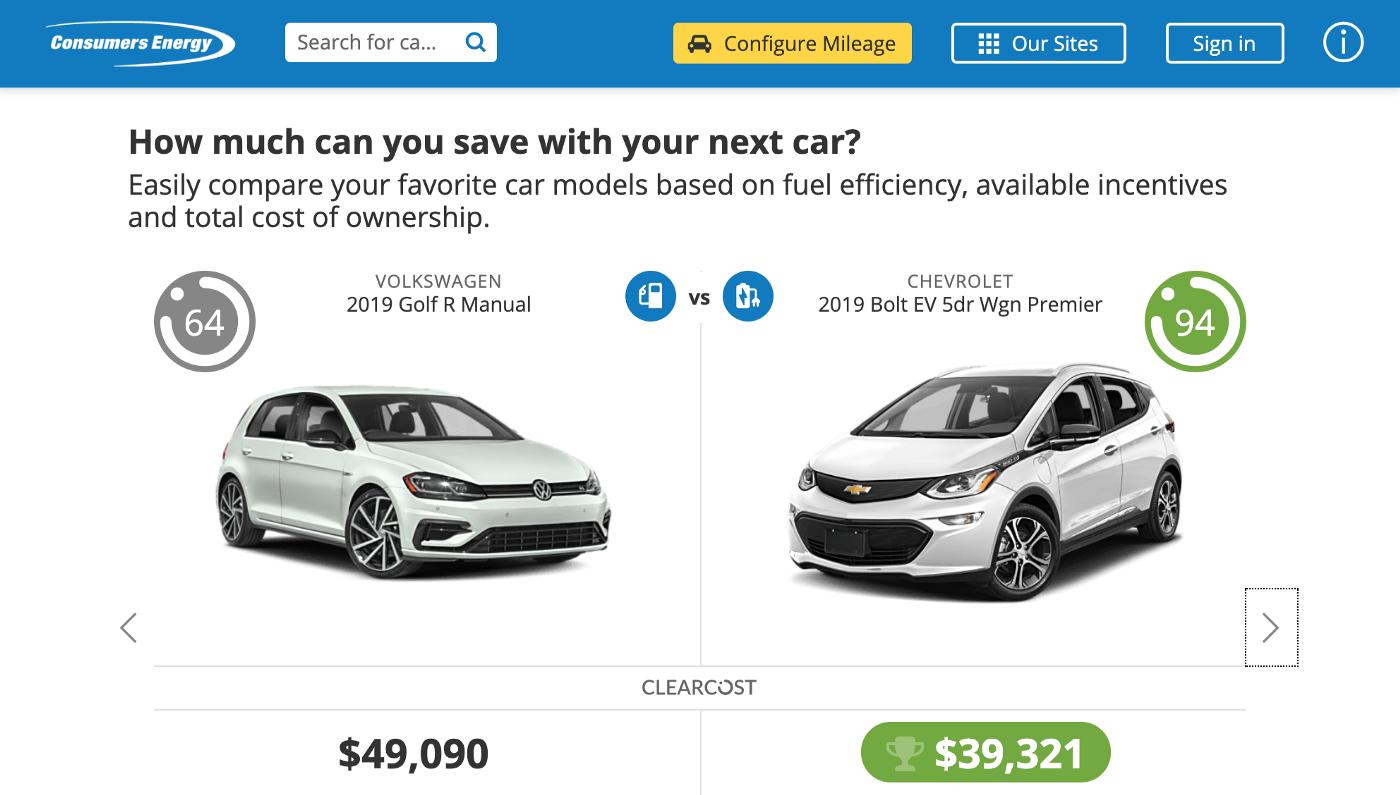 Car comparison screenshot