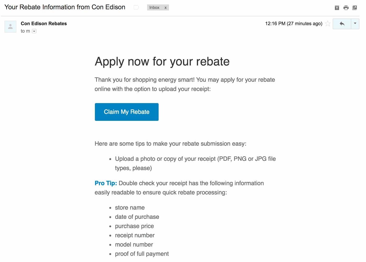 Email rebate screenshot