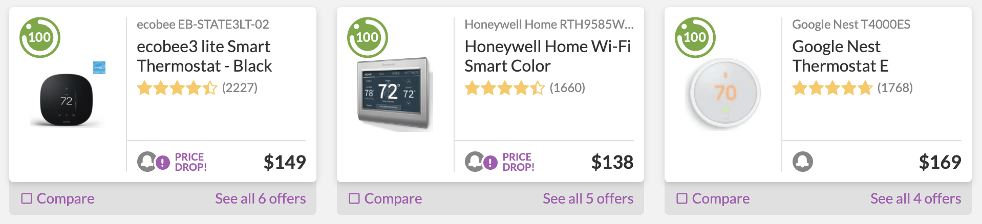 Smart Thermostats with Enervee Score