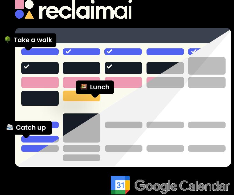 Reclaim calendar vs Google calendar