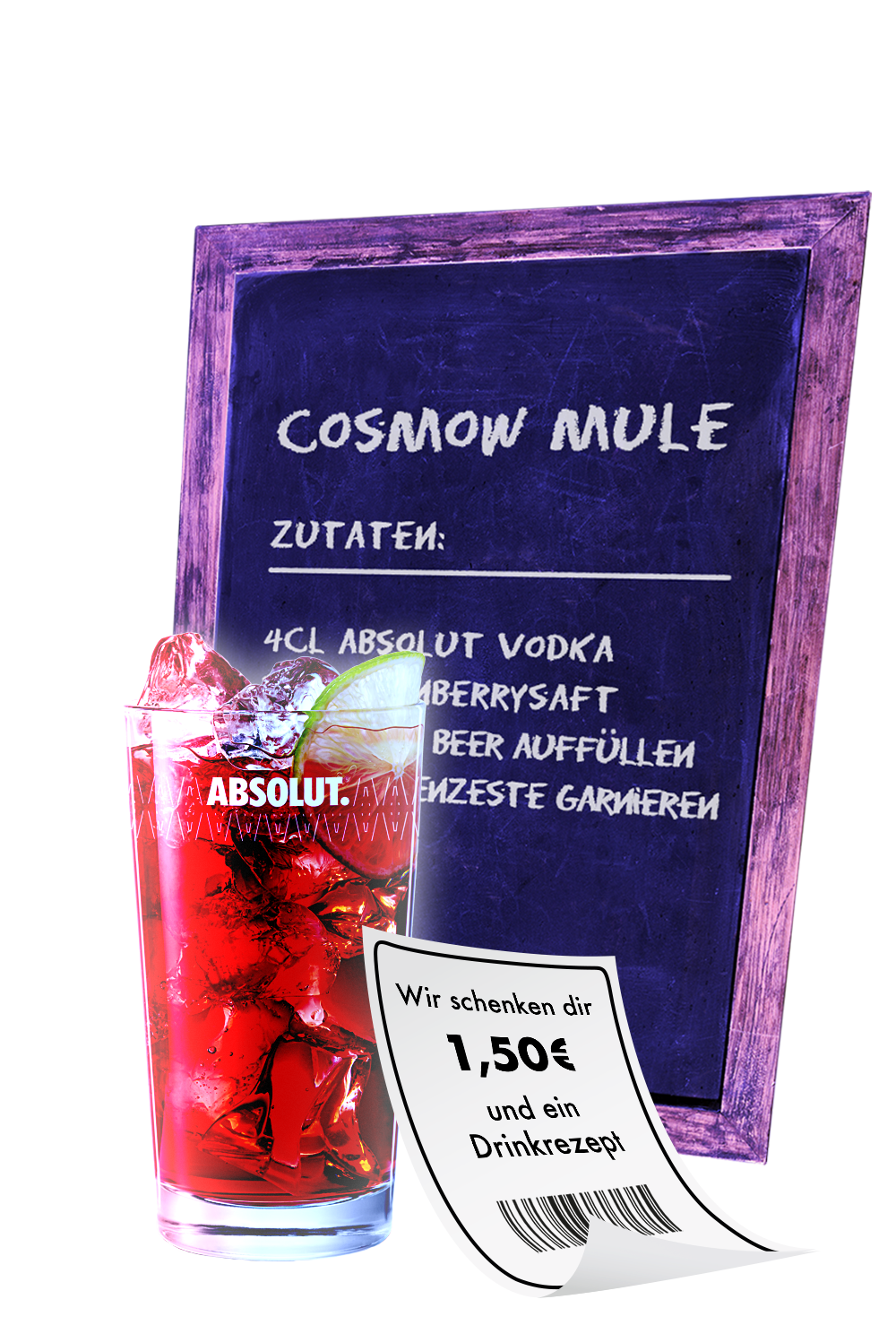 Recipe for Cosmow mule with the drink and a coupon next to it.