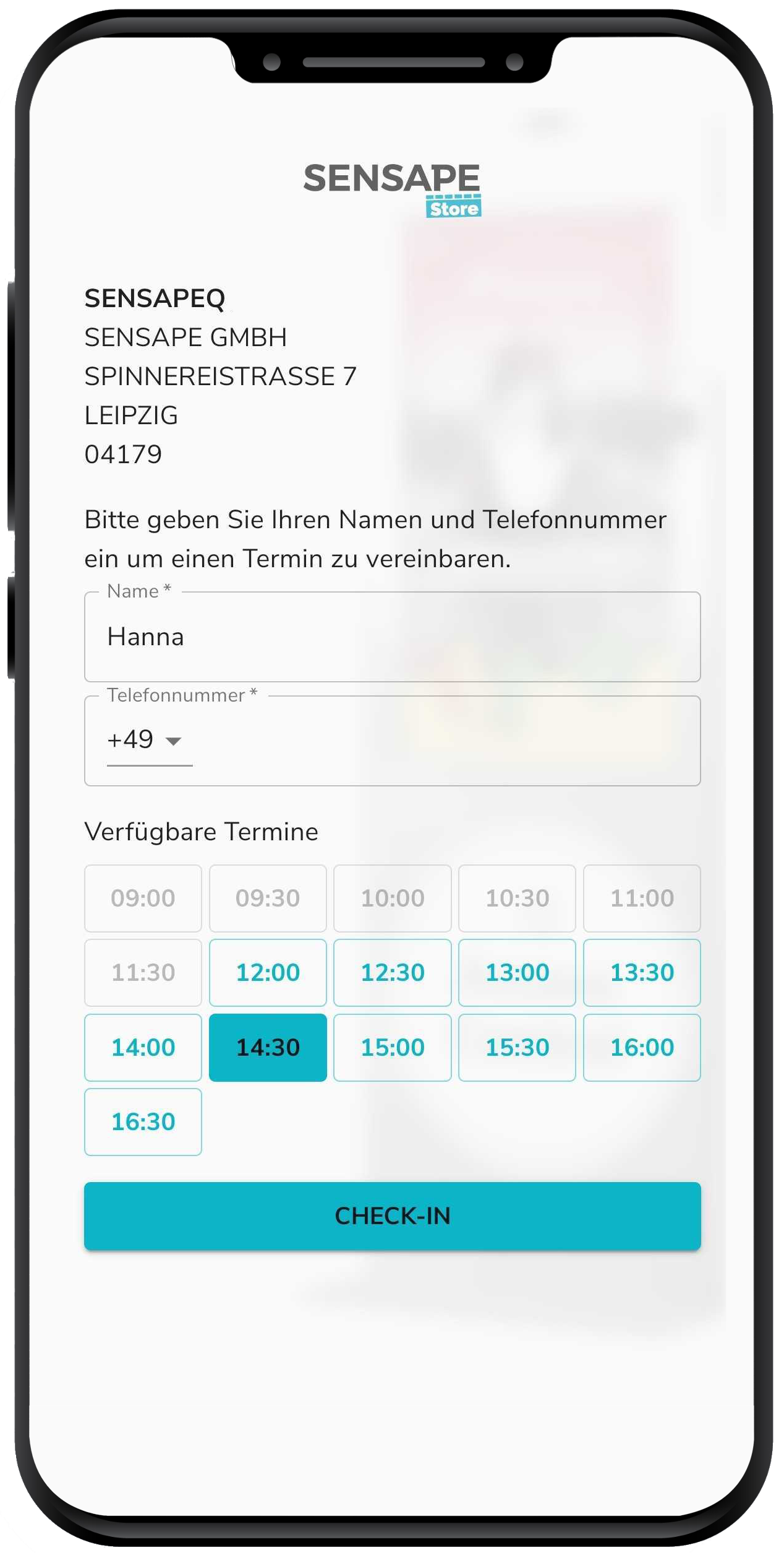 Smartphone shows the appointment booking process for a virtual queuing system.