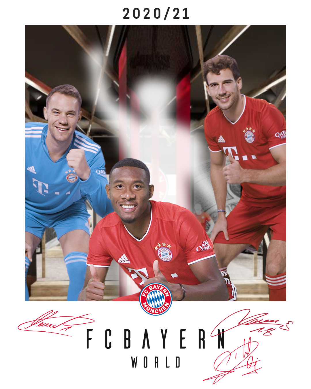 Fan photo with the starts of FC Bayern Munich powered by augmented reality in the FC Bayern Munich World as a polaroid.
