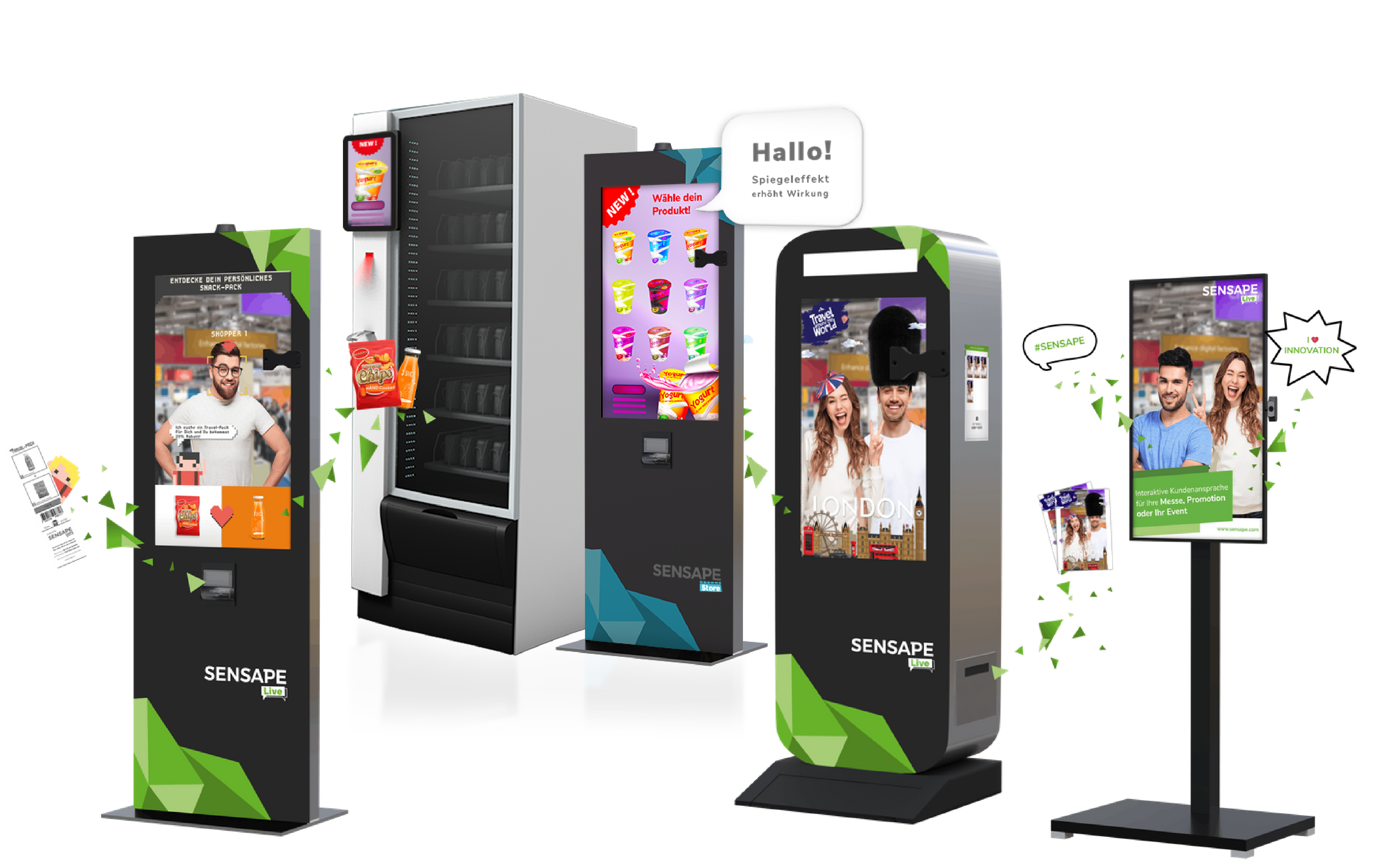 Ready to go solutions for an interactive marketing approach. Photobox, virtual promoter, vending machine, digital sampler, screen.