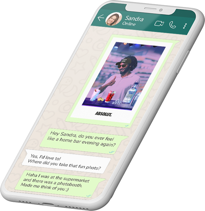 Smarthone shows a chat where user generated content is shared.