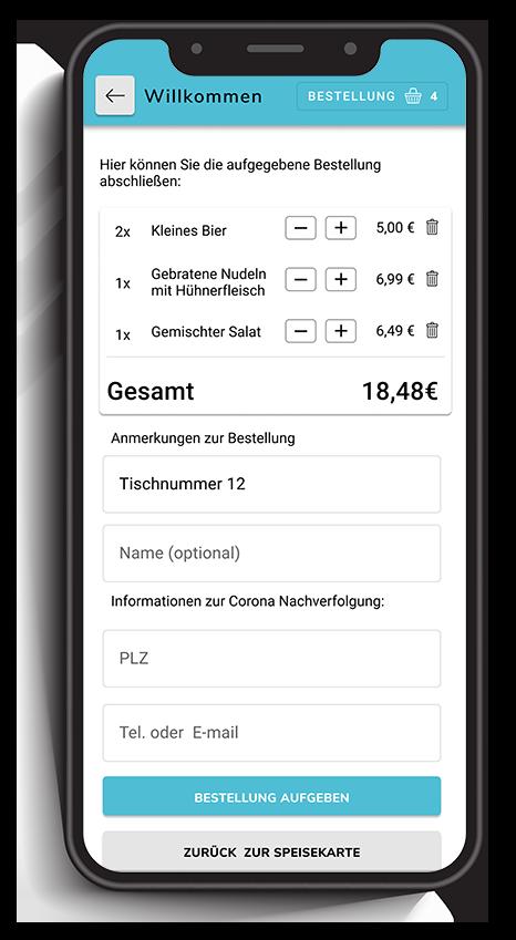 Ein Smartphone zeigt eine Bestellübersicht in einer digitalen Speisekarte in einem digitalen Bestellsystem für Gastronomie.