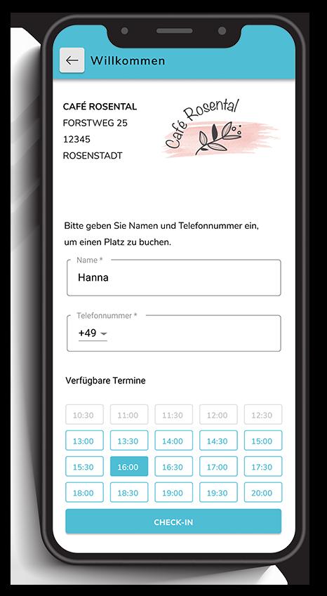 Ein Smartphone zeigt die Anmeldung und Terminbuchung in einem digitalen Bestellsystem für Gastronomie.