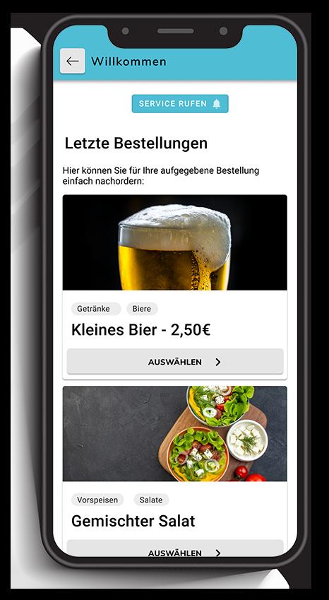 Ein Smartphone zeigt Favoriten in einer digitalen Speisekarte in einem digitalen Bestellsystem für Gastronomie.