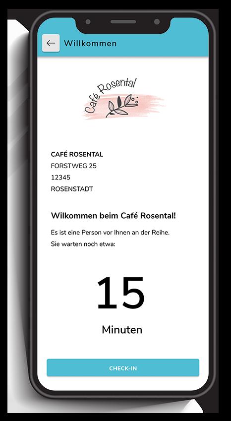 Ein Smartphone zeigt die Wartezeit in Echtzeit im Restaurant in einem digitalen Bestellsystem für Gastronomie.