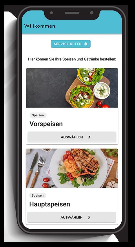 Ein Smartphone zeigt eine digitale Speisekarte mit Fotos der Speisen in einem digitalen Bestellsystem für Gastronomie.