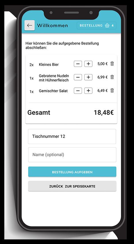 Ein Smartphone zeigt eine Bestellübersicht in einem digitalen Bestellsystem für Gastronomie.
