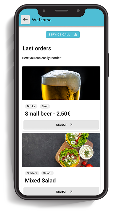 Smartphone that shows a table ordering system.