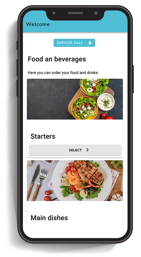 Smartphone that shows the digital restaurant menu of a table ordering system.