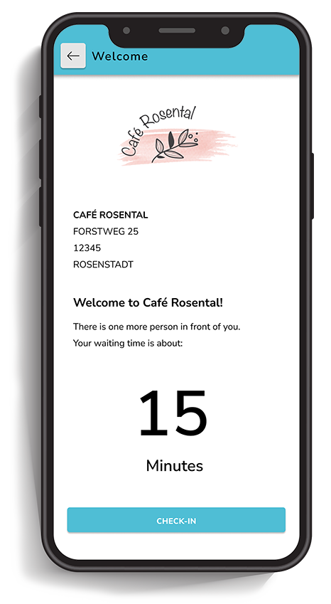 Smartphone that shows real-time waiting time in a virtual queue for a restaurant.