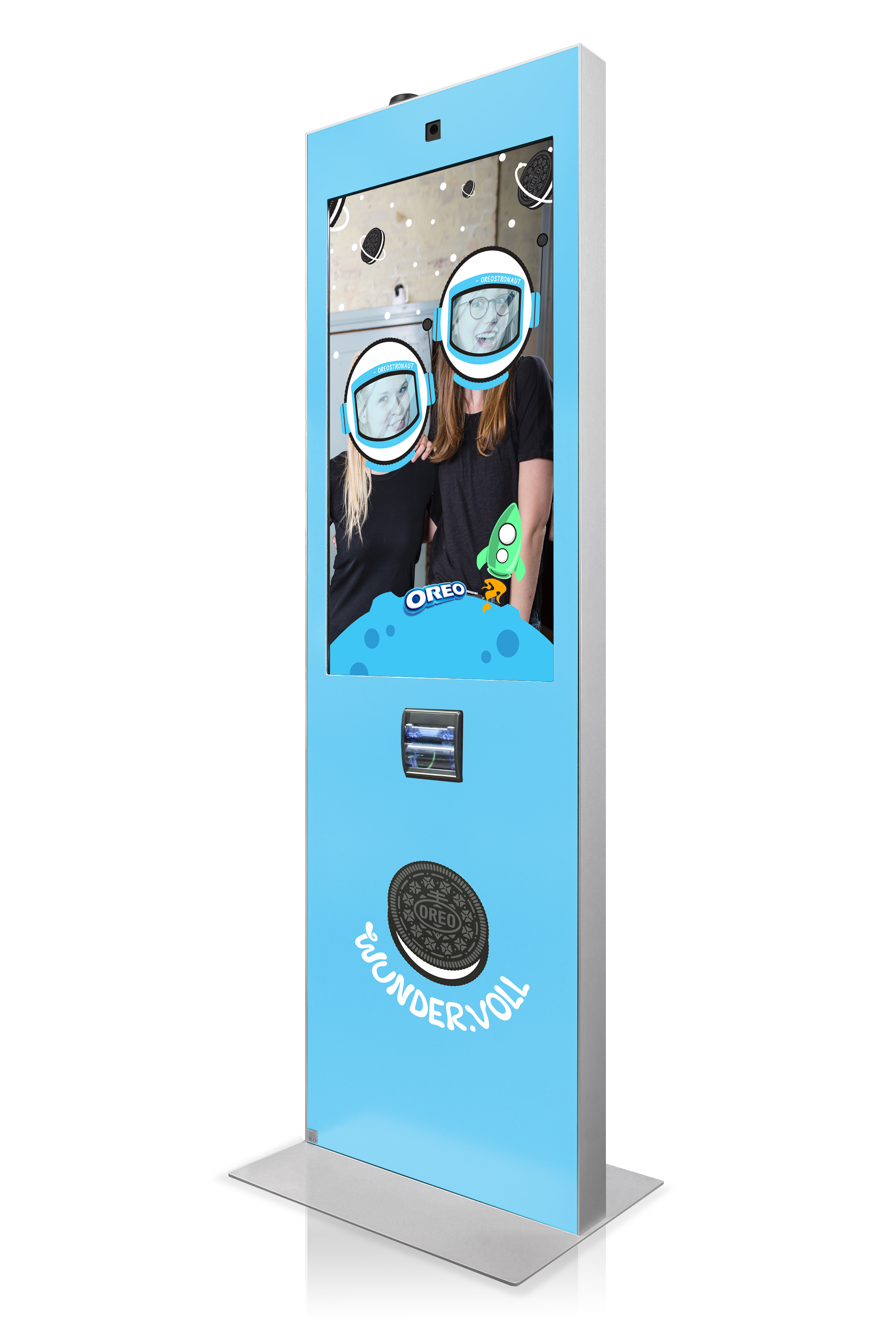 Blue Virtual Promoter showing two smiling persons with astronaut helmets on. Oreo cookies and rockets are printed on the device.