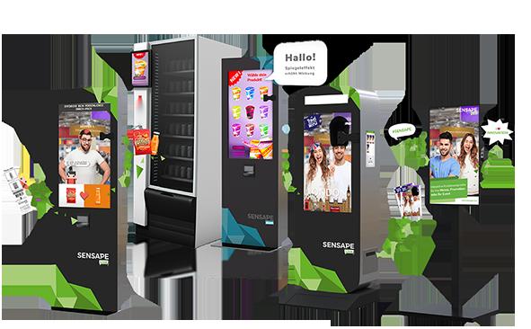 Vier interaktive Marketinglösungen mit Augmented Reality. Virtueller Promoter, Digital Sampler, Photobox, Screen.
