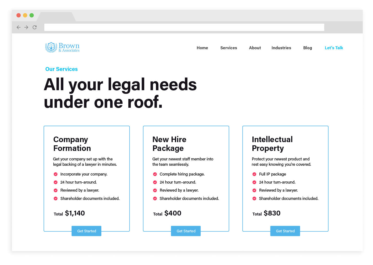 Law firm using Rally to improve their services page