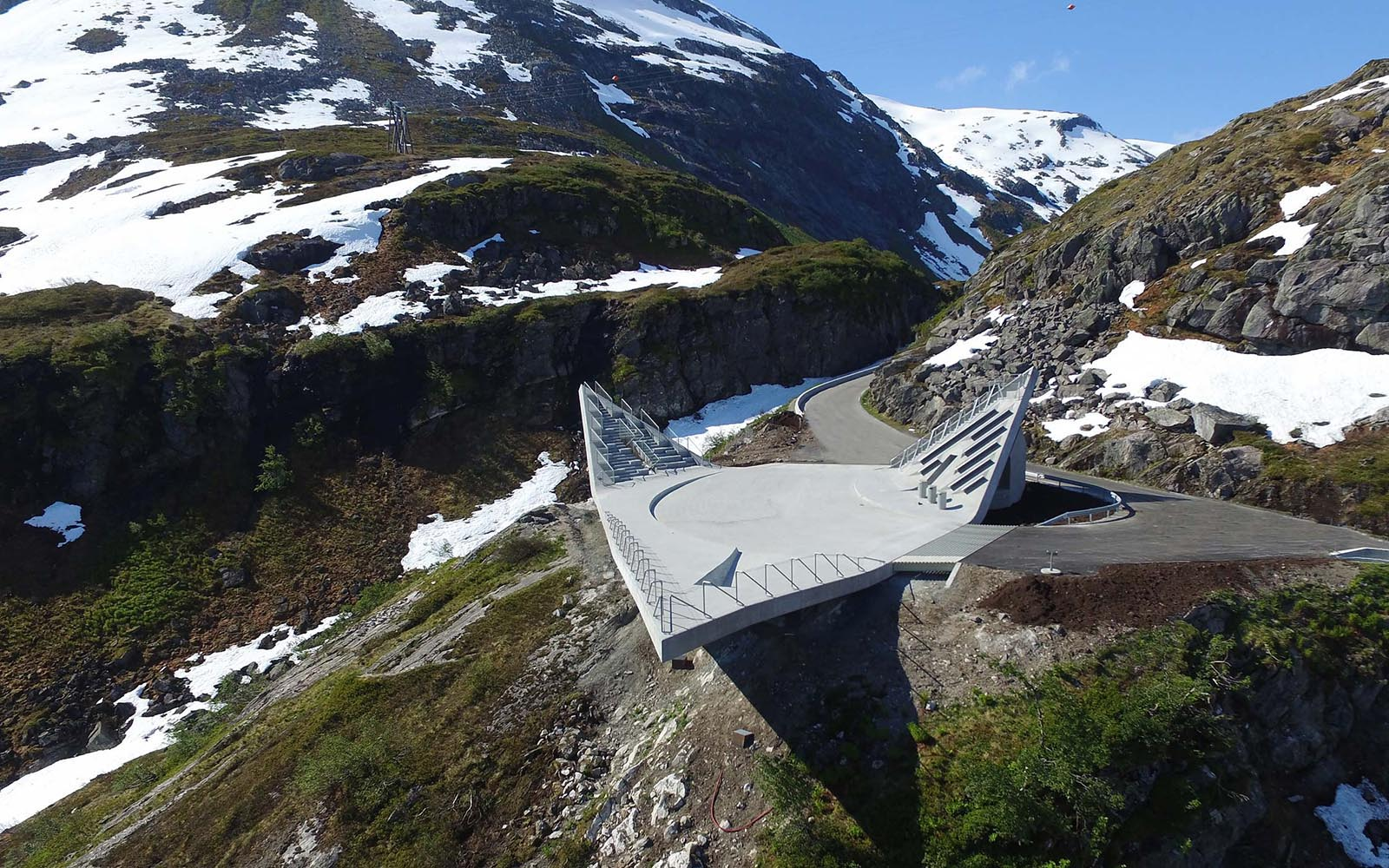 """Arial photo of a concrete monument in Norway called """"Utsikten""""."""