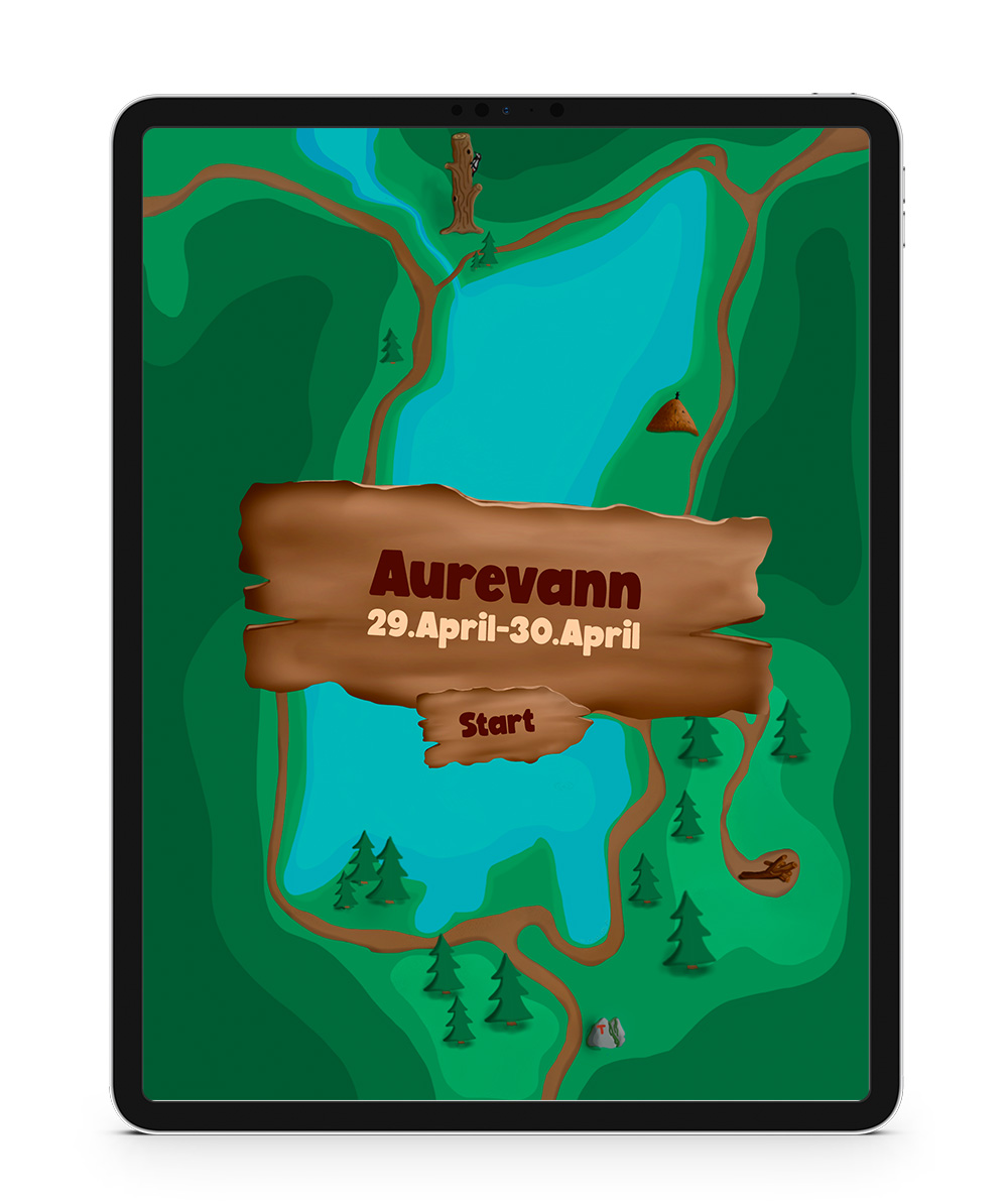 Screenshot from the aurevann app startup screen