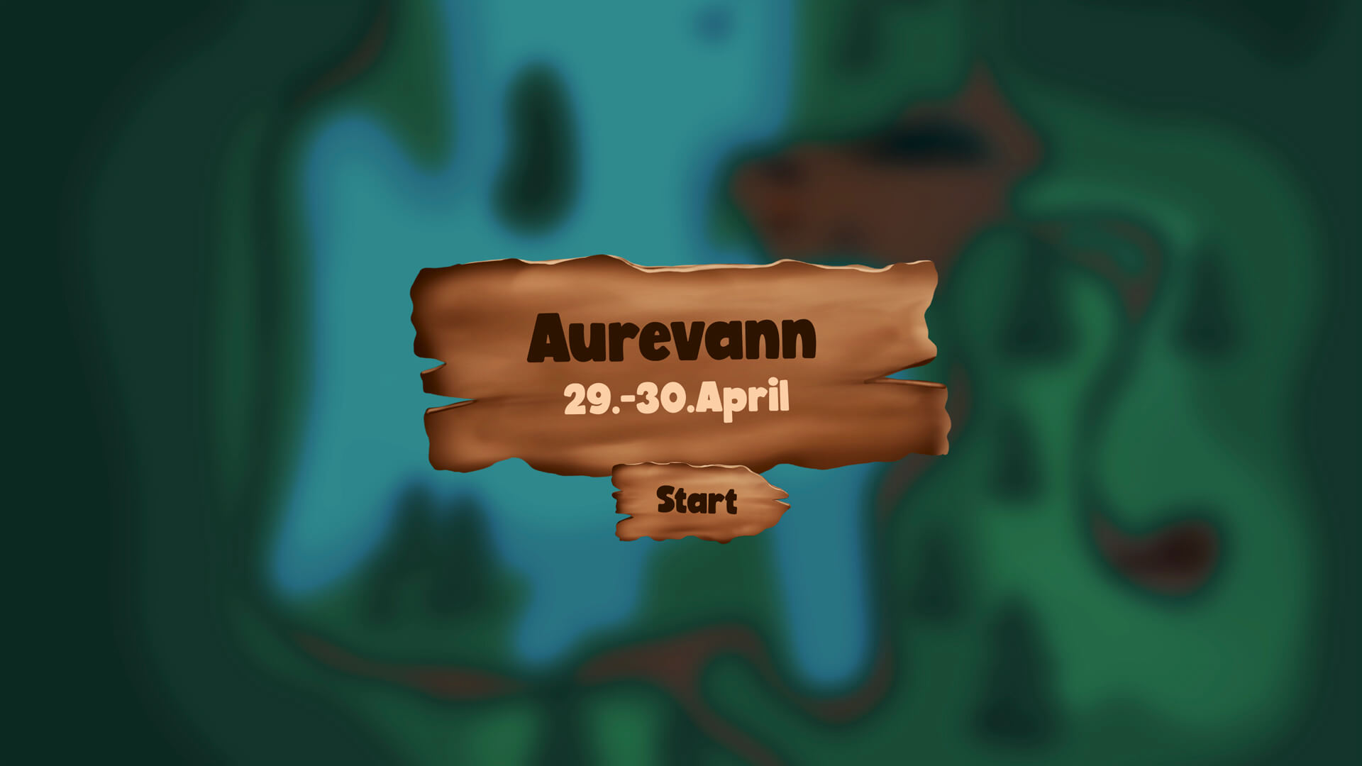 Intro screen to Aurevann with introtext, a start button and the map in the background