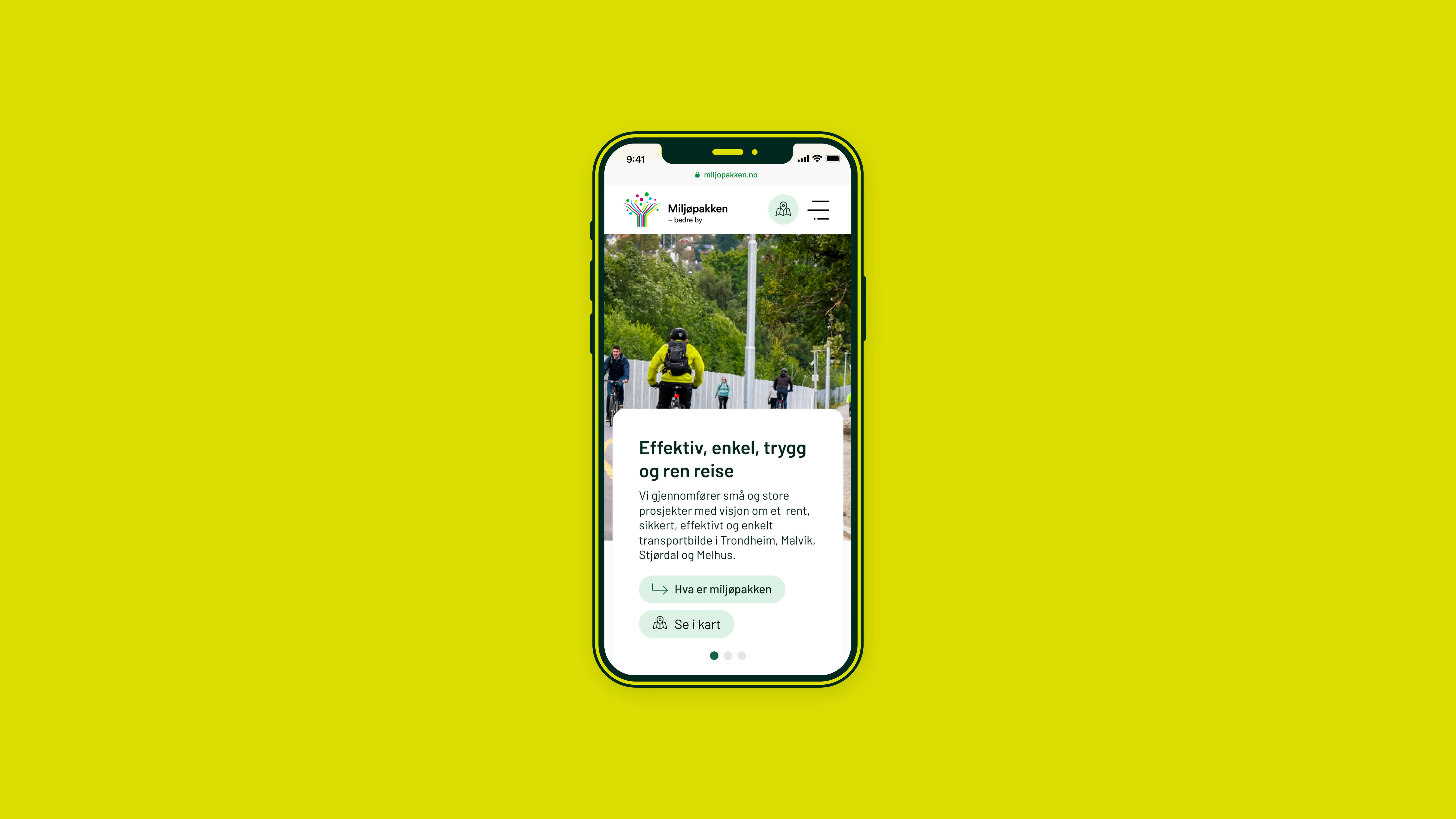 Mobile showing off the web design of Miljøpakken