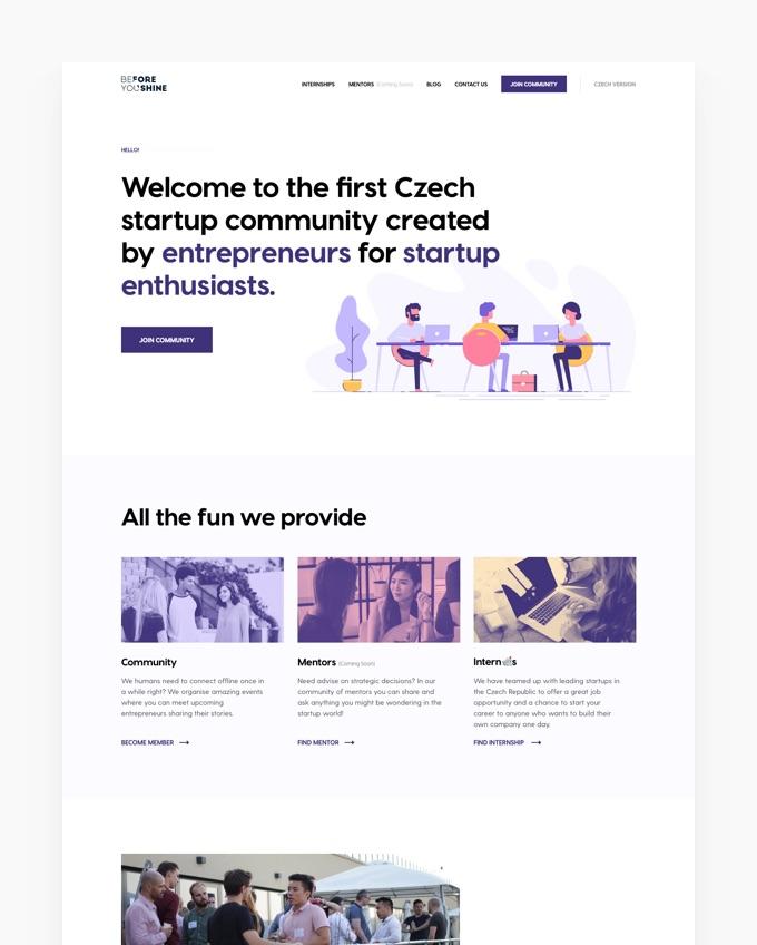Beforeyoushine - Webflow + Design