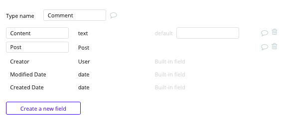 Instagram comment database and data fields built with no code