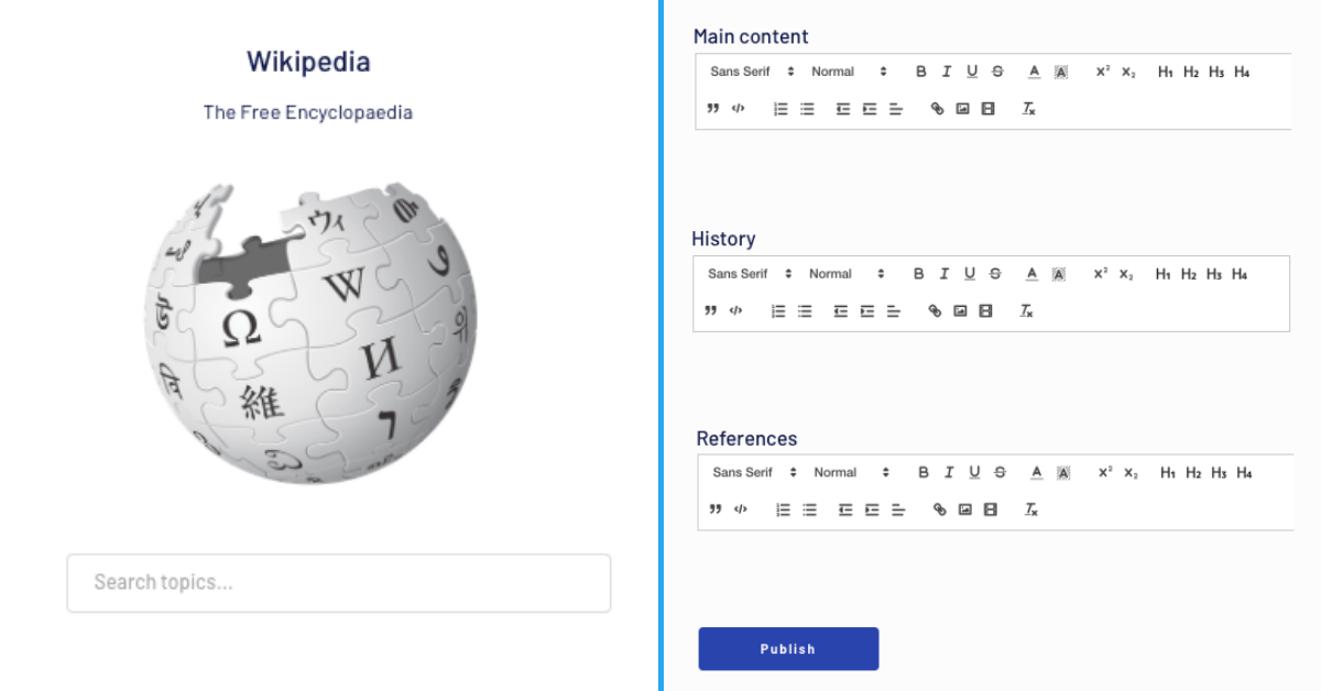 Wikipedia user interface build with Bubble's no-code development tool