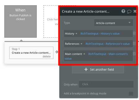 Bubble no code Wikipedia clone workflow creating a new article