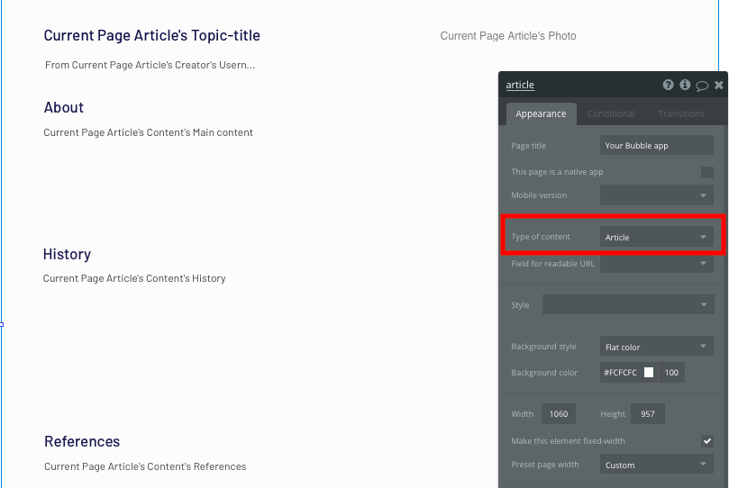Configuring the page type of a Wikipedia no-code clone