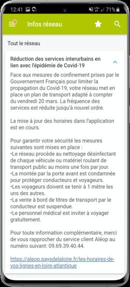 Capture d'écran notifications pour les voyageurs SAEIV PYSAE