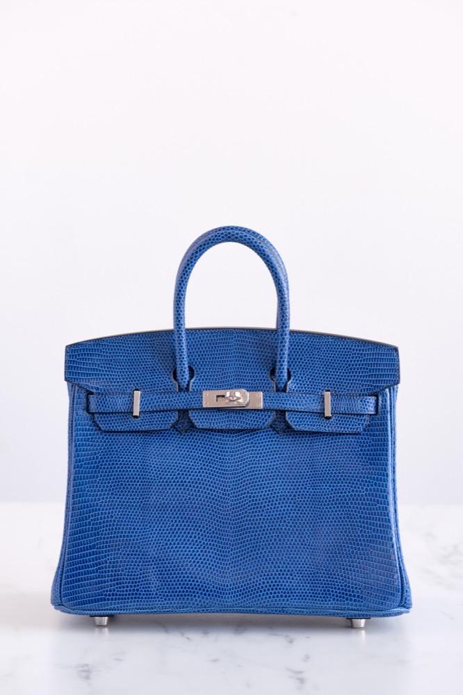 Hermes 25CM Bleu Saphir Lezard Birkin Bar