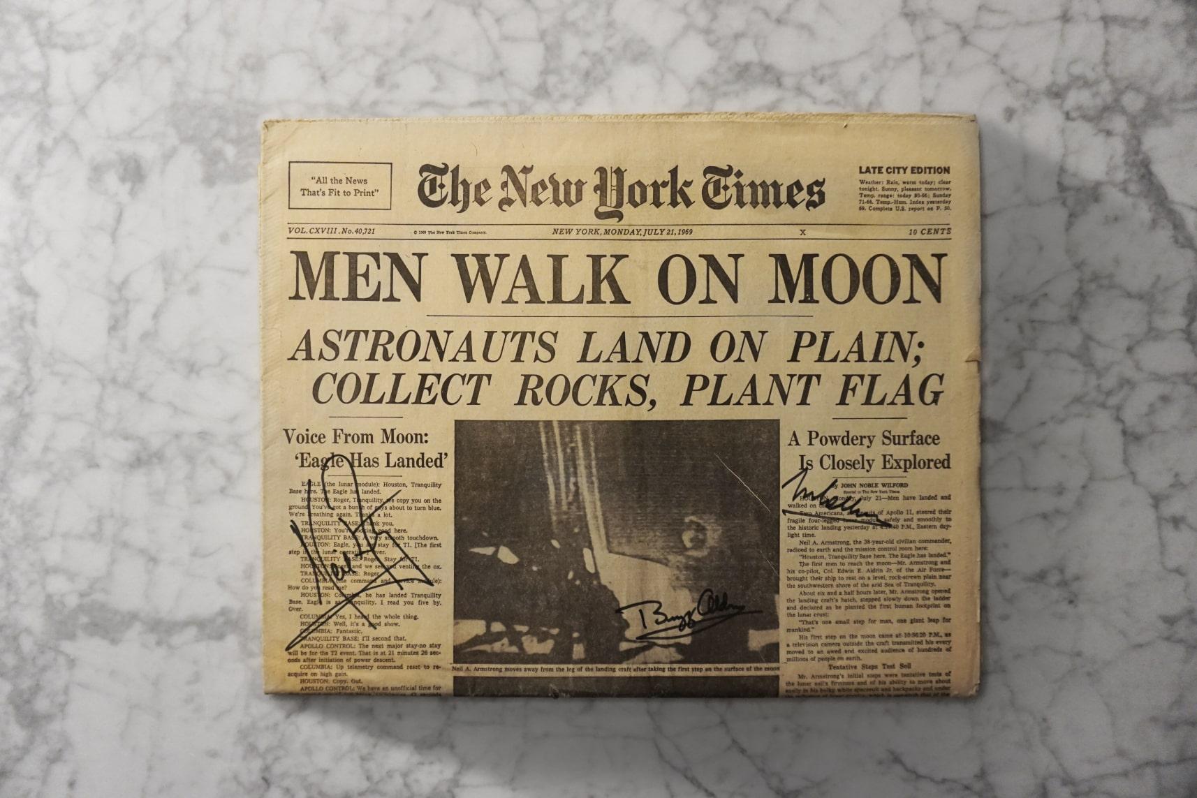 Apollo 11 Crew-Signed New York Times