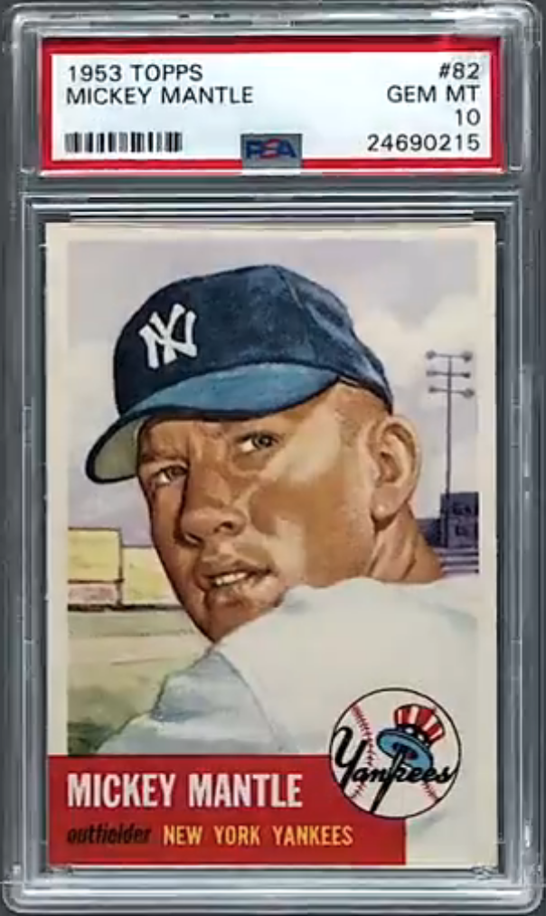 1953 Topps #82 Mickey Mantle Card (PSA 10)