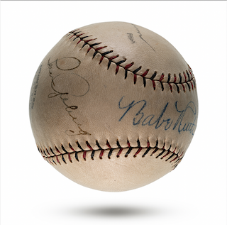 Babe Ruth and Lou Gehrig Double-Signed Baseball (PSA/DNA 7.5, BGS Auto 8 Ruth, 7 Gehrig)