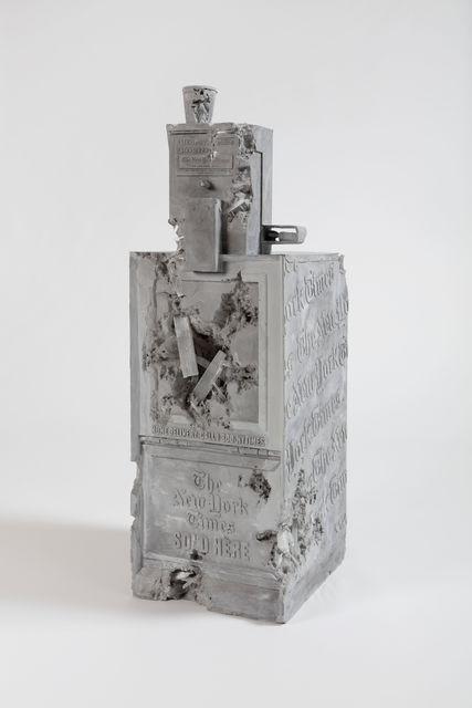 Grey Selenite Newspaper Machine by Daniel Arsham