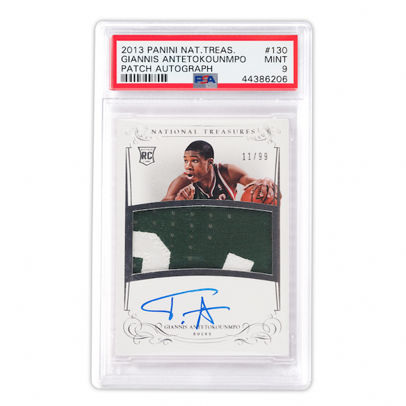 Panini National Treasures Giannis Antetokounmpo Rookie Patch Auto (PSA 9)