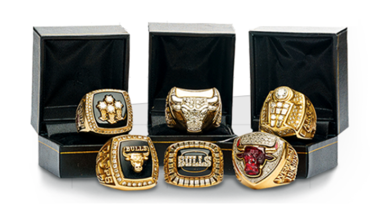 1990's Chicago Bulls Championship Rings Complete Set (6)