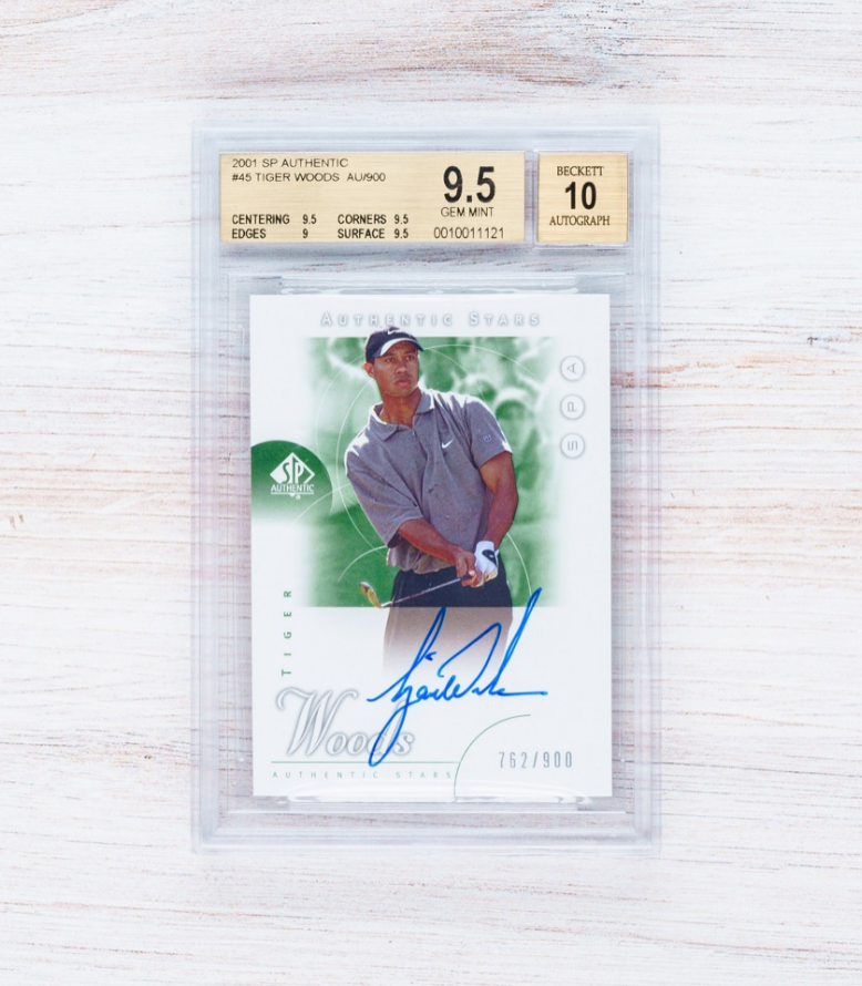 SP Authentic Tiger Woods Autographed Rookie Card (BGS 9.5, Auto 10)