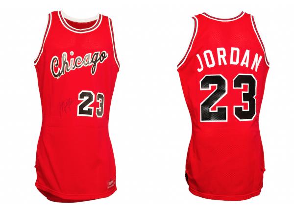 Game-Worn & Signed Michael Jordan Signed Rookie Road Jersey