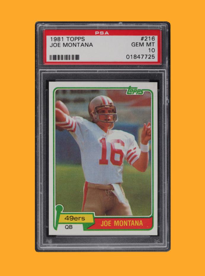 1981 Topps Football Joe Montana #216 Rookie Card (PSA 10)